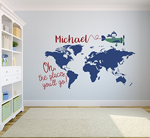 Custom World Map Name Wall Decal Nursery Airplanes Theme Decor Art Removable Oh the Places you'll go Sticker Vinyl (42