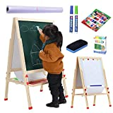 LINAZI Kids Wooden Standing Art Easel, Height Adjustable Magnetic Chalk Board & Dry Erase Board, Paper Roll, Accessories, Education Supplies & Craft Supplies for Kids and Toddlers (54 Inch)