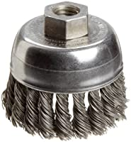 """Weiler Wire Cup Brush, Threaded Hole, Steel, Partial Twist Knotted, Single Row, 2-3/4"""" Diameter, 0.02"""" Wire Diameter, 1/2""""-13 Arbor, 1"""" Bristle Length, 14000 rpm (Pack of 1)"""