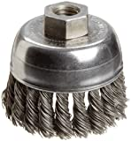 Weiler Wire Cup Brush, Threaded Hole, Steel, Partial Twist Knotted, Single Row, 2-3/4'' Diameter, 0.02'' Wire Diameter, 1/2''-13 Arbor, 1'' Bristle Length, 14000 rpm (Pack of 1)