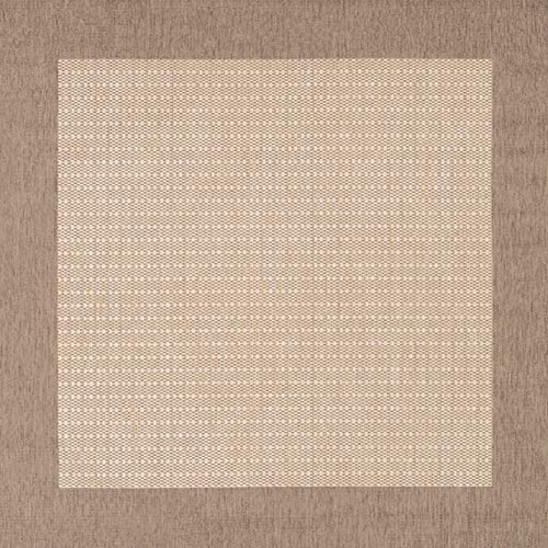 Couristan 1005/3000 Recife Checkered Field Natural/Cocoa Rug, 7-Feet 6-Inch Square