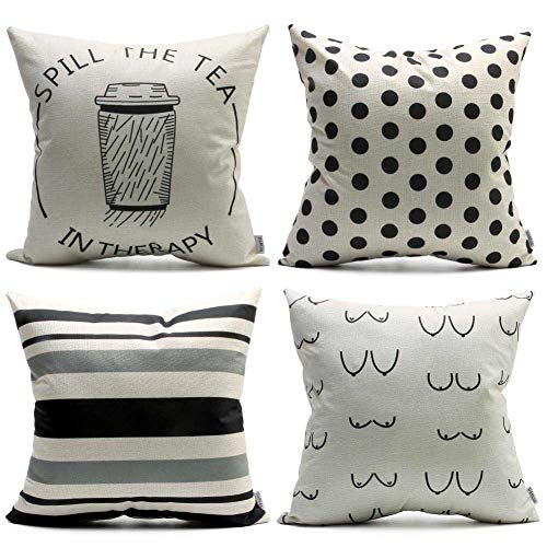 DANLIA Throw Cushion Pillowcase Set of 4 18x18,Black and White Stripe Black Dot to Dot Classic Standard Size Decorative Pillow Cover, Coffee Tea Cup Funny Body Pillow Case