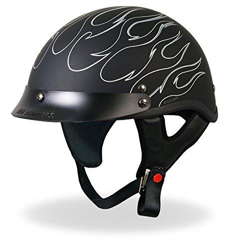 Flame Shorty Motorcycle Helmet (Hot Leathers DOT Approved Reflective Flames Helmet (Black, Medium))