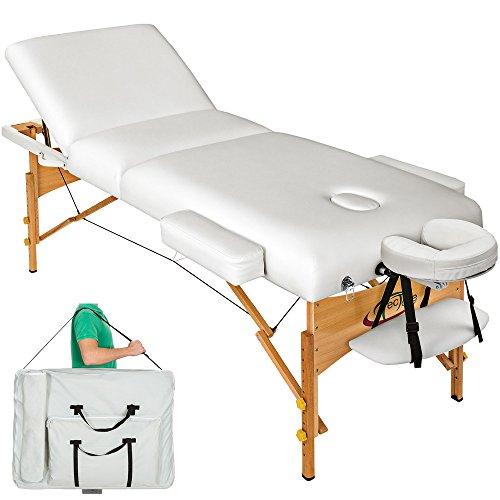 TecTake® Massageliege Premium mit 10cm reiner Polsterung weiß + Tasche & Alukopfstütze