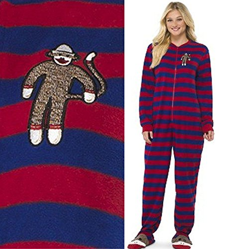 Sock Monkey Adult Footed Fleece Pajamas XL Footsie Footie...