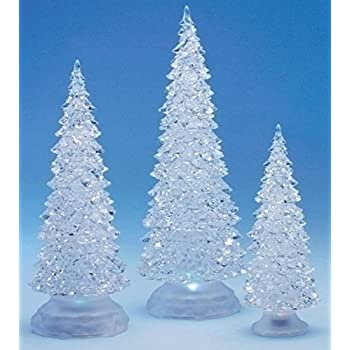 3 piece icy crystal battery operated lighted led color changing christmas trees - Color Changing Led Christmas Tree
