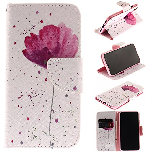 iPhone X Wallet Case (5.8-inch), iPhone X Cover, MerKuyom [Kickstand] Premium PU Leather Pouch Flip Cover Case Holster For Apple iPhone X iPhoneX (2017) (White Pink Flower) ()