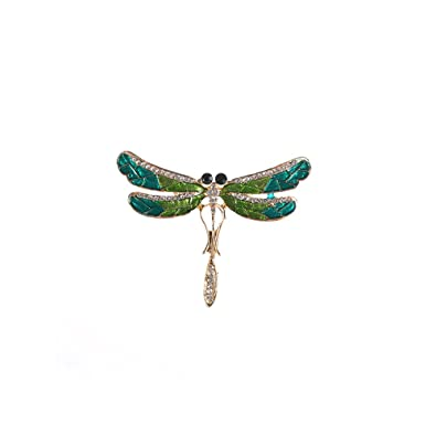 39299c70e0981 Amazon.com: MISSU JEWELLRY Green Dragonfly Brooch Pin Oiled Insect ...