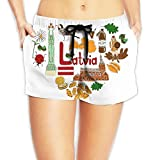 Travel to Latvia Women Fashion Sexy Quick Dry Lightweight Hot Pants Waist Beach Shorts Swimming Trunks