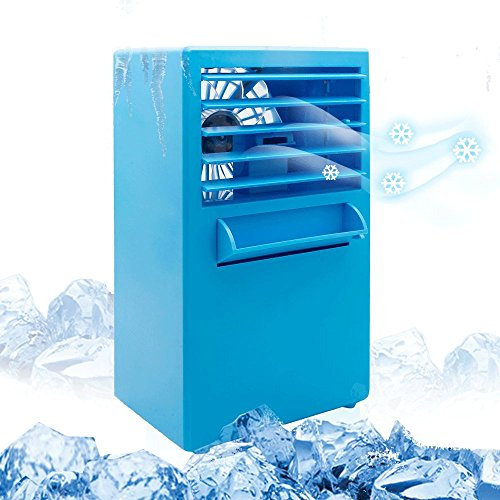 TOP-MAX Portable Air Conditioner Fan, Small Misting Cooling Fan,Mini Desktop Evaporative Air Circulator Cooler Humidifier Cooling Fan for Home Office Room Student,Blue by TOP-MAX