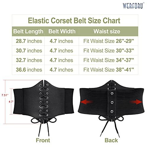 WERFORU Women Corset Elastic Belt Wide Retro Lace-up Tied Costume Waspie Waist Belt for Ladies Halloween, Suit Waist Size 26-29 Inches, Black
