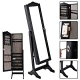 Eight24hours Lockable Mirrored Jewelry Cabinet Armoire Mirror Organizer Storage Box w/ Stand