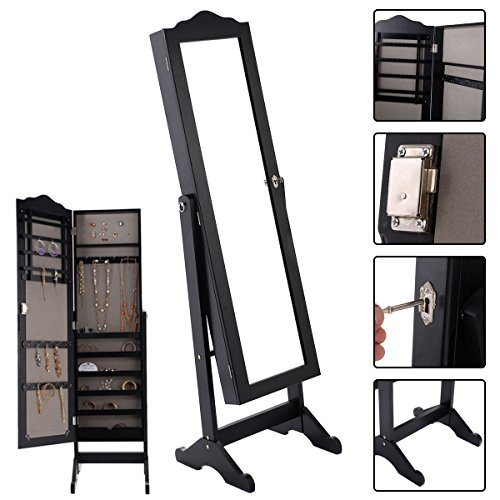 Eight24hours Lockable Mirrored Jewelry Cabinet Armoire Mirror Organizer Storage Box w/ Stand by Eight24hours