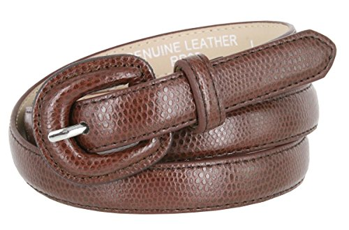 Brown Snake Genuine Belt (Women's Skinny Snakeskin Embossed Genuine Leather Dress Belts 3/4
