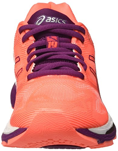 19 Running Flash Nimbus Zapatillas Gel Asics Dark Purple para Mujer Coral White de Naranja zXfZEwwqx