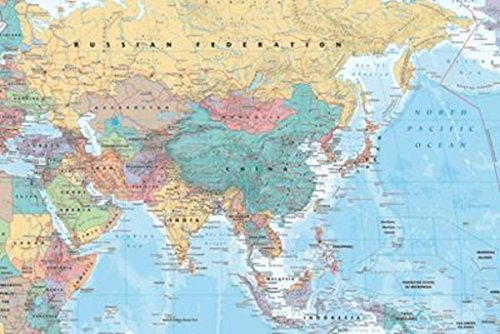 - Asia and Middle East Map Reference Poster 36x24