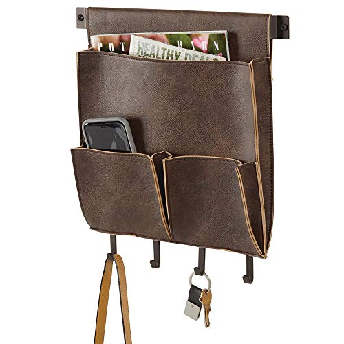 (mDesign Decorative Wall Mount Soft Leather Hanging Storage Organizer - Mail Sorter, Letter Holder, Key Rack - for Entryway, Bedroom, Home Office, Dorm Room - 3 Pockets, 4 Hooks, 12.5