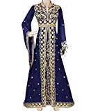 African Boutique Exclusive Muslim Abaya Jalabiya Embroidery Stone African Dress for Women Party Wear Kaftan Wedding Gown Navy Blue