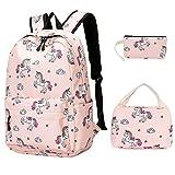 Girls Backpack For School Teens Bookbag Cute Backpack Set Water Resistant School Bag (Pink)