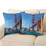 Ediyuneth Pillowcases Queen Size Travel,Marshall Beach in California 18'x18',Throw Pillows for Bedroom