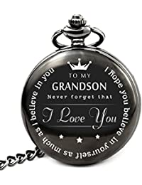 to My Grand Son Pocket Watch to Grandson Gifts from a Grandpa, Grandma