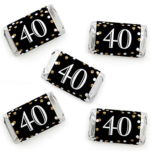 (Adult 40th Birthday - Gold - Mini Candy Bar Wrapper Stickers - Birthday Party Small Favors - 40 Count)