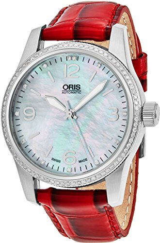 Oris Big Crown 38 MM Womens Mother-of-Pearl Face Diamond Swiss Automatic Red Leather Strap Watch 73376494966LS