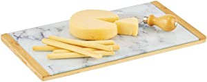 mDesign Modern Bamboo/Glass Rectangular Serving Tray for Food, Tea, Coffee, Breakfast, Snacks, Cheese, Appetizers - Use in Kitchen, Bathroom, Office - Marble/Natural
