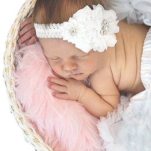 Miugle Baby Christening Headbands Baby Baptism Headbands with Bows (Satin Bows Lace)