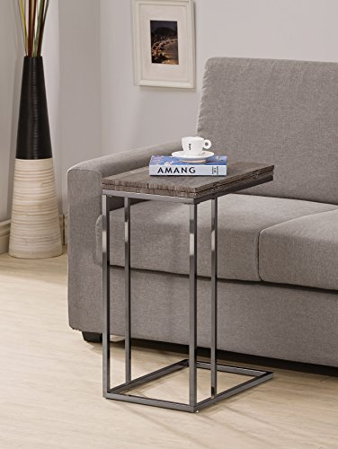 Weathered Grey Finish Expandable Snack Side End Table