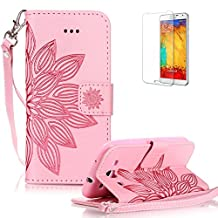 For Samsung Galaxy S3 Case [with Free Screen Protector] Funyye Solid color Stylish Lanyard Strap Scratch Resistant Premium Magnetic Detachable PU Leather Wallet Style Cover with [Credit Card Holder Slots] Full Body protection Ultra Thin Protective Case Cover Skin for Samsung Galaxy S3 - Half Flower Pink