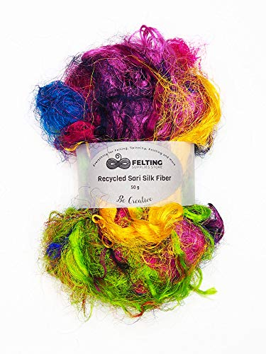 Recycled Sari Silk Fiber Mix Assorted Colors for Wet Felting, Nuno Felting, Spinning, Paper Making, Crafts, Textile Projects