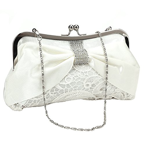 The Pecan Man Handbag White Satin Lace Ladies Diamante Shoulder Bag Wedding Bridal Floral Clutch Bag - And Michael Kors Orange Bag White