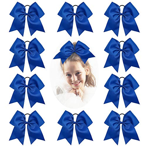 CN Girls Electric Blue Cheer Bow with Ponytail Holder for Cheerleading Girl Pack of 10