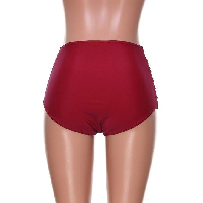 Rovinci Bikinihose Bauch Weg Effekt Hoher Taille Bikini Hose Schwimmen Slip Bauchweg mit Ger/üschter Optik Einfarbig Badeshorts Tankini Strand Bademode Shorts Hosen Unterw/äsche Damen Bikinislip