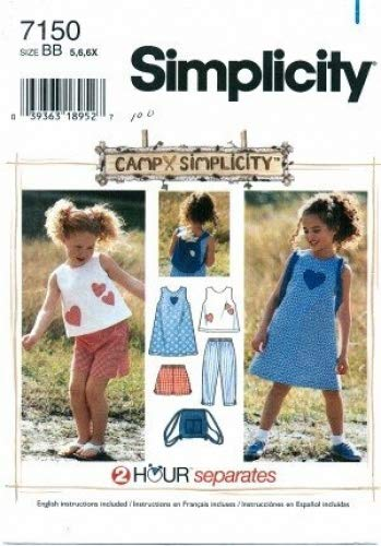 Simplicity 7150 Sewing Pattern Girls CAMPX Separates Dress Top Capri Pants Shorts Bag Size 5 - 6X