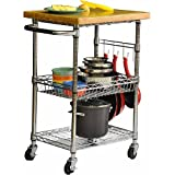 Ikkco EcoStorage Chrome Bamboo Top Kitchen Cart, Roll this chrome bamboo top kitchen cart into your kitchen and youll have a lot of extra space to store pots, pans, and more. The removable top is the perfect place to prepare breakfast or chop up your meat, as it doubles as a cutting board