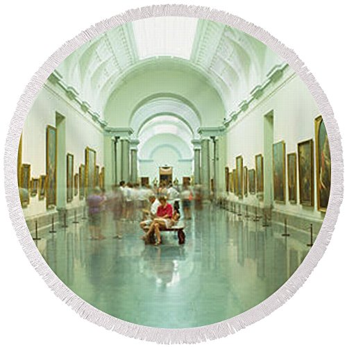 Pixels Round Beach Towel With Tassels featuring ''Interior Of Prado Museum, Madrid, Spain'' by Pixels by Pixels
