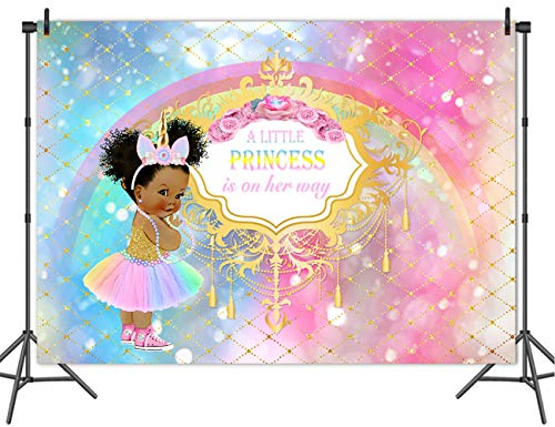 Mehofoto Unicorn Baby Shower Backdrop Royal Princess Rainbow Background Baby 7x5ft Vinyl Unicorn Themed Baby Shower Party Banner Supplies Decoration
