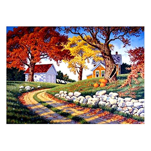 (Digood DIY 5D Diamond Painting by Number Kits, Crystal Rhinestone Diamond Embroidery Paintings Pictures Arts Craft for Home Wall Decor, Full Drill, Natural Landscape Pattern (Country Road))