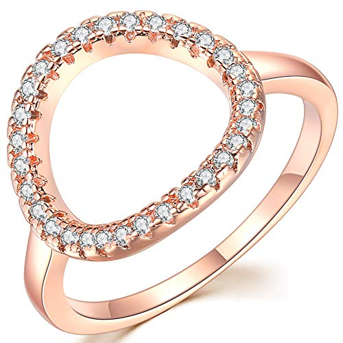 (Jude Jewelers Silver Rose Gold Open Circle Karma Promise Statement Ring (Rose Gold, 5) )