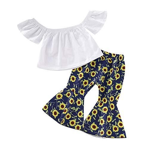 3Pcs Toddler Baby Girl Polka Dot Outfits Set, Kids Off Shoulder Ruffled Tassel Crop Top+High Waist Harem Pants+Headband (Sunflower Crop Top Set, 2-3T)