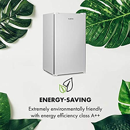 Klarstein Hudson Nevera - 88 litros, eficiencia energética E, 3 estantes de cristal, 2 compartimentos para verduras, luz interior LED, 3 compartimentos para botellas de hasta 2 litros, Gris-plata[Clase de eficiencia energética E]