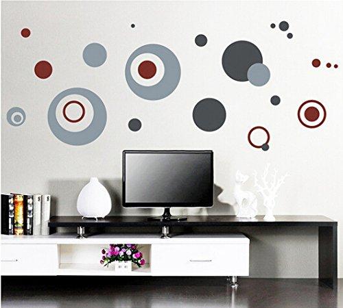 Élégant Sticker mural rond Cercles Gris Maison en papier peint amovible Salon Chambre Cuisine Art Images murales décoration de porte de fenêtre en PVC + Cadeau Grenouille 3D autocollant pour voiture fashionbeautybuy