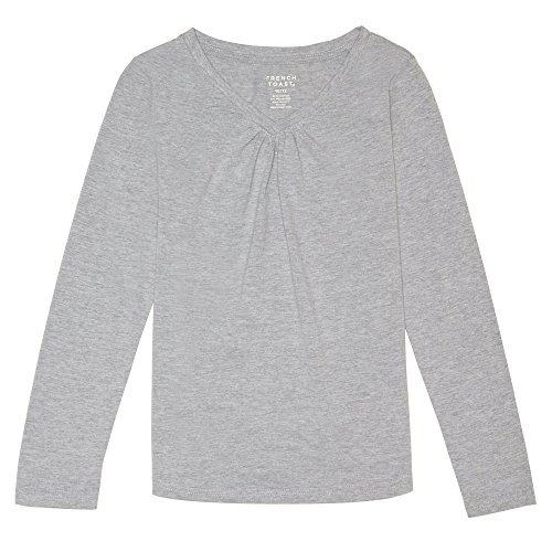 (French Toast Girls' Little Long Sleeve V-Neck Tee, Heather Gray, 4)