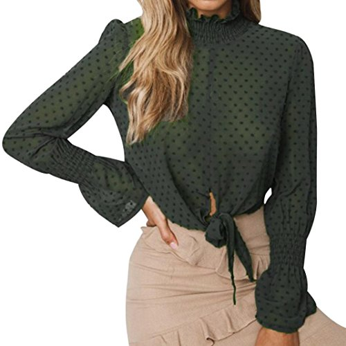 (MODOQO Women Chiffon Floral Flare Sleeve Short Bow Shirt Dot Print Top Blouse Green)