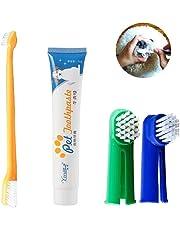 Kit de limpieza de dientes para perro/gato, cepillo de dientes y pasta de