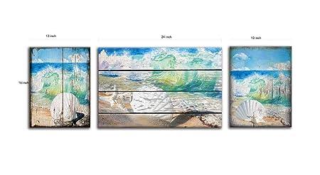gubaidao Coastal Serene Canvas Wall Art Vintage Blue Green Conch Shell Coral Canvas Print Painting Suitable for Bathroom Decor and Bedroom Wall Decor 3pcs 12inchx16inchx2 16x24inchx1