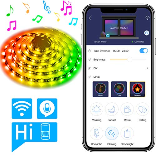 DreamColor 16.4ft LED Strip Lights, MINGER WiFi Wireless Smart Phone Controlled Light Strip 5050 LED Lights Sync to Music, Work with Amazon Alexa, Echo, No Hub Required, Compatible with Android iOS