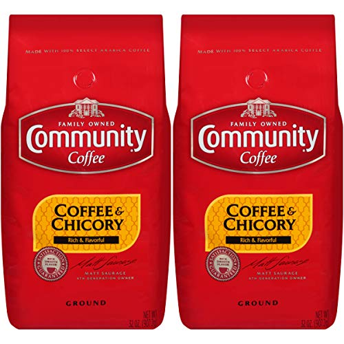 Community Coffee and Chicory Medium Dark Roast Premium Ground 32 Oz Bag (2 Pack), Full Body Rich Flavorful Taste, 100% Select Arabica -